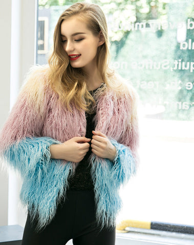 Luxury Faux Fur Coat Mix Color Shaggy Jacket - CelebritystyleFashion.com.au online clothing shop australia