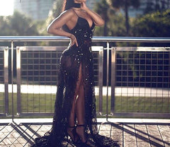 Sequin Maxi Long Dress Halter V Neck Bling Dress - CelebritystyleFashion.com.au online clothing shop australia