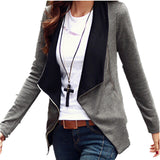 Autumn Winter Women Basic Coat Jackets Korean Style Slim Turn Down Collar Side Zipper Cardigan Plus Size Outerwear S-2XL - CelebritystyleFashion.com.au online clothing shop australia