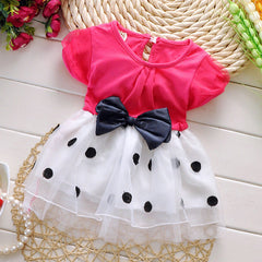 1-3 years old baby girls dress summer cotton material Free shipping new style dot bow baby clothes princess infant dresses - CelebritystyleFashion.com.au online clothing shop australia