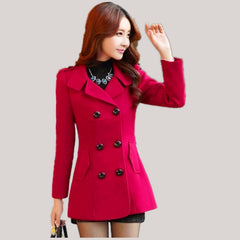 Women Woolen Coats Winter Trench Coat Fashion Solid Double Breasted Overcoat Turn-down Collar Slim Outerwear C8103 - CelebritystyleFashion.com.au online clothing shop australia