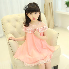 New Summer Costume Girls Princess Dress Children's Evening Clothing Kids Chiffon Lace Dresses Baby Girl Party Pearl Dress - CelebritystyleFashion.com.au online clothing shop australia