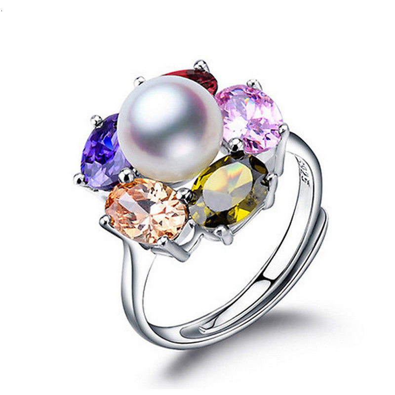 BlackNew Colorful Flower Wedding Rings 925 Sterling Silver Jewelry Natural ruby jewelry Big Pearl Adjustable Rings For Women