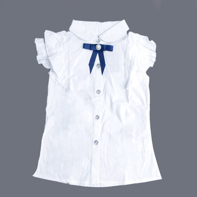 girl short-sleeve white shirt student slim white waist blouse for girls clothes kids clothing - CelebritystyleFashion.com.au online clothing shop australia