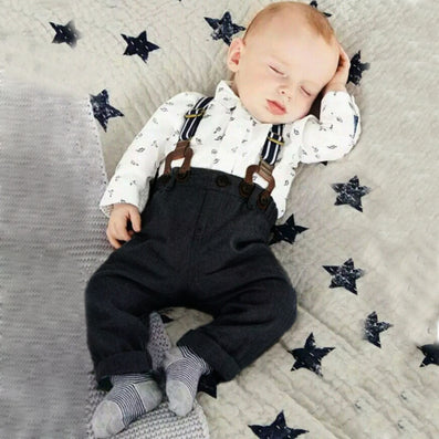 Cute Baby Boy Clothes Sets Toddler Shirt Top Bib Pants Overall Costume Kids Clothing Set - CelebritystyleFashion.com.au online clothing shop australia
