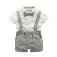 summer style baby boy clothing set newborn infant clothing 2pcs short sleeve t-shirt + suspender gentleman suit - CelebritystyleFashion.com.au online clothing shop australia