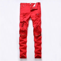 Red White Black Ripped Denim Pant Knee Hole Zipper Biker Jeans Men Slim Skinny Destroyed Torn Jean Pants fear of god jeans - CelebritystyleFashion.com.au online clothing shop australia