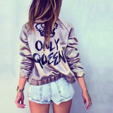 "New Fashion Bomber Jacket Letter Print ""Only Queen"" Glossy Women Souvenir Jacket Coat Casual Baseball Jacket Women Basic Coats - CelebritystyleFashion.com.au online clothing shop australia"