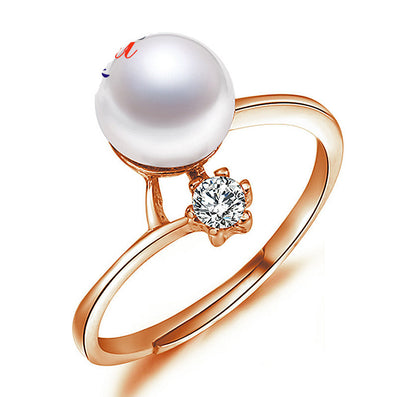 100% Real Pearl Ring AAA 8-9mm Freshwater Pearl Finger Ring For Women Anniversary Gift Female Ring Bijoux - CelebritystyleFashion.com.au online clothing shop australia