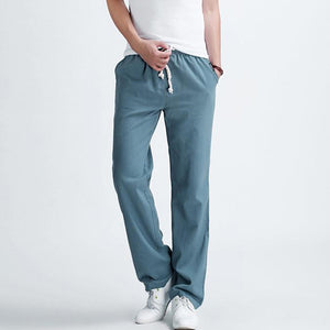 Men's casual pants New Men's solid color linen casual trousers Stylish and comfortable large size men straight trousers - CelebritystyleFashion.com.au online clothing shop australia