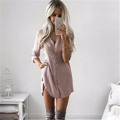 Women Fall Dresses New Arrival Ukraine Women Autumn Long Sleeve Casual Shirt Dress Mini Vintage Party Dresses Plus Size - CelebritystyleFashion.com.au online clothing shop australia