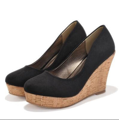 Classics Brand Genuine Leather Suede Wedges High Heels Platform Round Toe Pumps Women's Shoes - CelebritystyleFashion.com.au online clothing shop australia