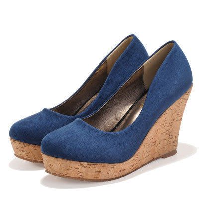 BLUE / 9Classics Brand Genuine Leather Suede Wedges High Heels Platform Round Toe Pumps Women's Shoes