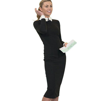 Career Women Autumn Turn-down Collar Fit Work Dress Vintage Elegant Business office Pencil bodycon Midi Dress 751 - CelebritystyleFashion.com.au online clothing shop australia