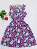 CDJLFH Brand Blue stars 20 Colors Fashion Women Sleeveless Florals Print Round Neck Dress Saias Femininas Summer Clothing - CelebritystyleFashion.com.au online clothing shop australia