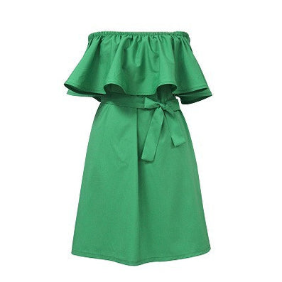Fashion Brand Summer Dress Women Off Shoulder Dress Sleeveless Ruffles Cross Straps Dresses Candy Color Party Dresses - CelebritystyleFashion.com.au online clothing shop australia