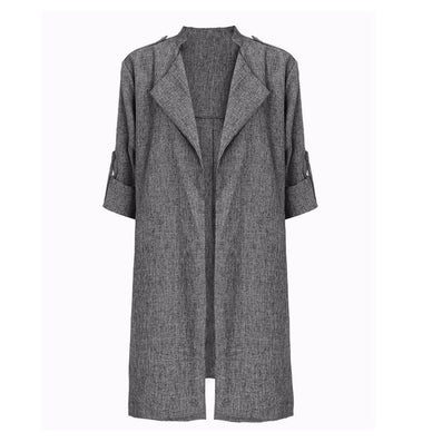 Spring Women Slim Thin Outerwear Casual Lapel Windbreaker Cape Coat European Style Linen Cardigan Jacket US Plus Size S-7XL - CelebritystyleFashion.com.au online clothing shop australia