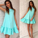 Sexy Ruffles Women Dress Summer Sleeveless Casual A Line Bodycon Dresses Party Cocktail Short Mini Tube Beach Dress - CelebritystyleFashion.com.au online clothing shop australia