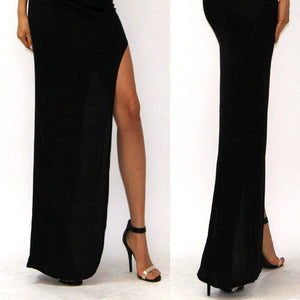 New Fashion Charming Sexy Women Lady Long Skirts Open Side Split Skirt Long Maxi Skirt Black - CelebritystyleFashion.com.au online clothing shop australia