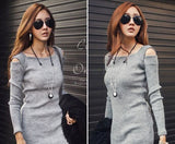 Fashion Winter Women Sweater Dress Women Clothes Ladies Long Sleeve Knitted Bodycon Stretch Party Casual Dress Black Gray CL1114 - CelebritystyleFashion.com.au online clothing shop australia