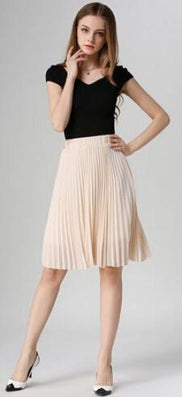 8 Colors women chiffon pleated skirt vintage high waist tutu skirts womens saia midi rokken summer style jupe femme - CelebritystyleFashion.com.au online clothing shop australia