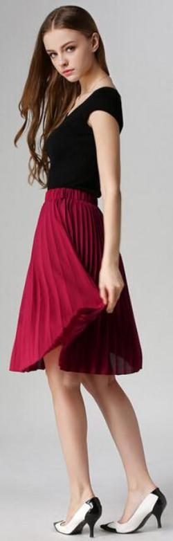 0043157db 8 Colors women chiffon pleated skirt vintage high waist tutu skirts womens  summer style