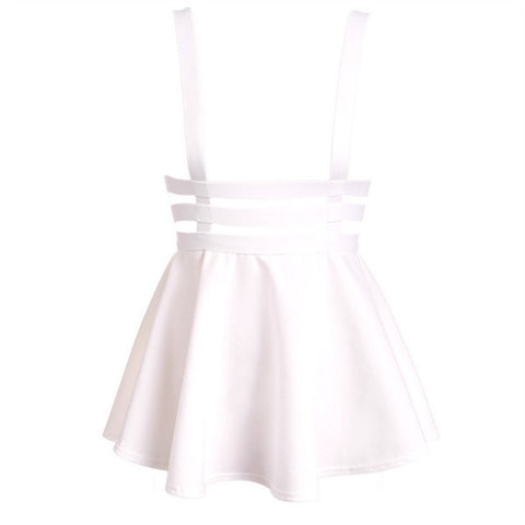 Retro Hollow Mini Skater Cute Women Suspender Clothes Straps High Waist Skirt - CelebritystyleFashion.com.au online clothing shop australia