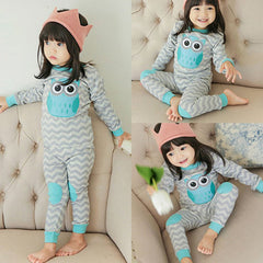 Cute Girl Cotton Wave Owl Printed Long Sleeve Tops+Pants Set Homewear Robes Sleepwear - CelebritystyleFashion.com.au online clothing shop australia