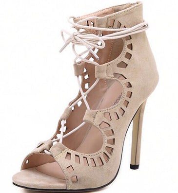 Fashion Women Pumps Women Shoes Sandals Lace up High Heels Cut Outs Shoes Summer Open Toe - CelebritystyleFashion.com.au online clothing shop australia