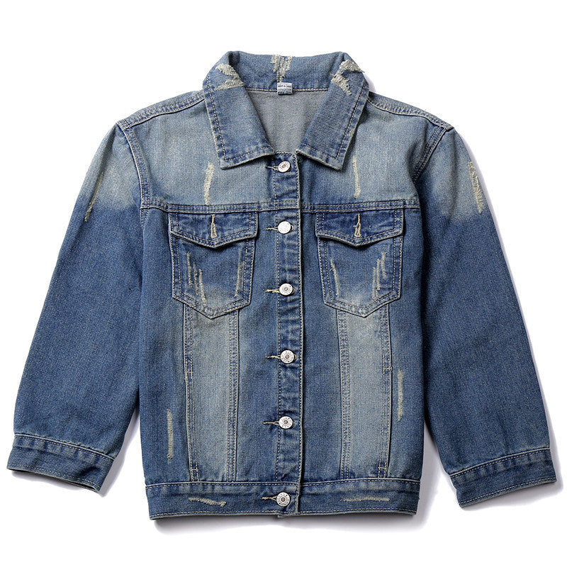 dark blue / STC Women Jeans Jackets Short Tops Spring Autumn Long Sleeve Denim Coat Ripped For Women Clothing Chaquetas Mujer AT00168