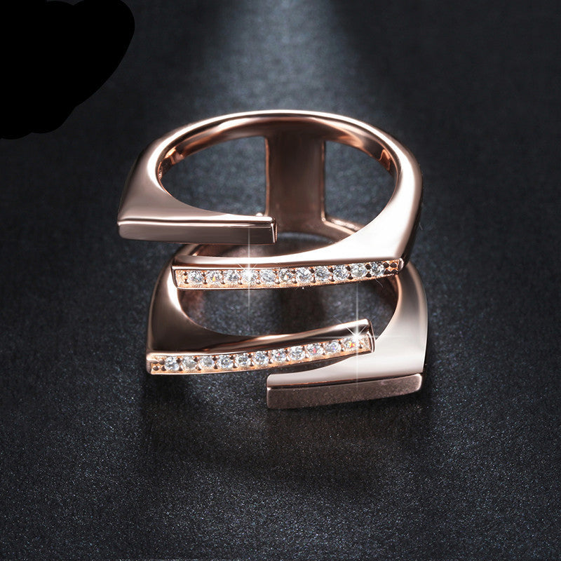 5 / Platinum PlatedORSA JEWELS Rose Gold/Platinum Plated Unique Geometric Design CZ Ring Paved 22 Pieces Austrian Zircon Fashion Jewelry OR127