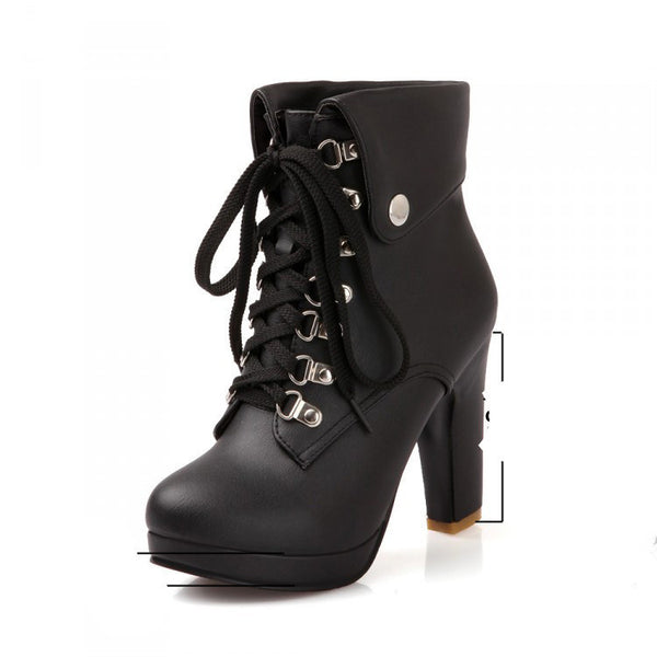751f32da605 Women Faux Leather Ankle Boots Designer Fashion Platform Chunky High Heels  Lace Up Short Booties Woman
