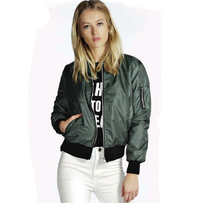 European Style Womens Retro Long Sleeve O-Neck Short Zipper Slim Bomber Jacket Casual Coat MA1 Pilot Bomber Jackets - CelebritystyleFashion.com.au online clothing shop australia