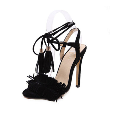 Women Summer Shoes Gladiator High Heel Sandals Fashion Brand Tassels Sandlias Blue Red Sexy Ladies Shoes size 35-40 Z1216 - CelebritystyleFashion.com.au online clothing shop australia