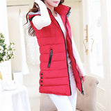 Winter Hooded Vest Women New Fashion Waistcoat Plus Size Pockets Zipper Slim Long Style Candy Colors Vests WWV191 - CelebritystyleFashion.com.au online clothing shop australia