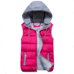 women's cotton wool collar hooded down vest Removable hat high quality Brand New female winter warm Jacket&Outerwear Thicken - CelebritystyleFashion.com.au online clothing shop australia