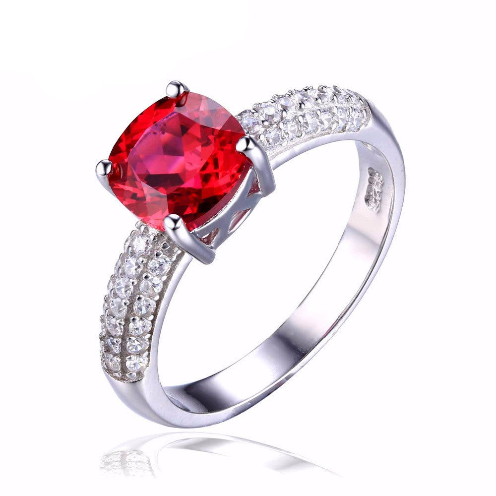6Cushion 2.6ct Created Red Ruby Solitaire Engagement Ring 925 Sterling Silver Ring Fashion Design Fine Jewelry