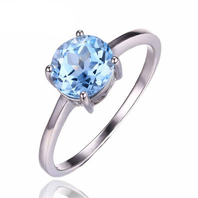 Round 1.6ct Natural Sky Blue Topaz Birthstone Solitaire Ring Genuine 925 Sterling Silver Jewelry for Women - CelebritystyleFashion.com.au online clothing shop australia