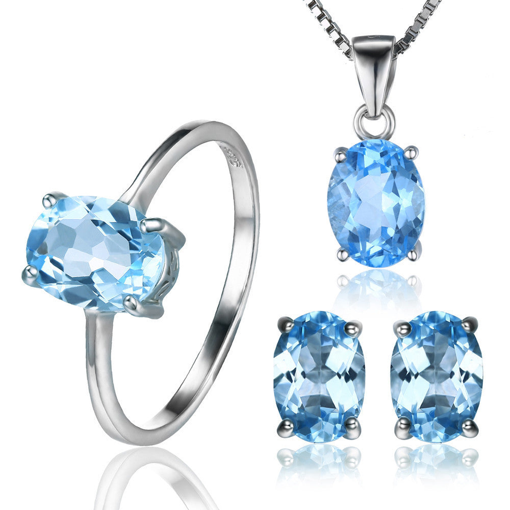 Size 6Oval 5.8ct Natrual Blue Topaz Ring Stud Earrings Pendant Necklace 925 Sterling Silver Jewelry Sets 45cm Box Chain