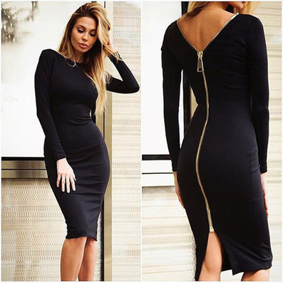 Bodycon Sheath Dress Little Black Long Sleeve Party Dresses Women Clothing Back Full Zipper Robe Sexy Femme Pencil Tight Dress - CelebritystyleFashion.com.au online clothing shop australia