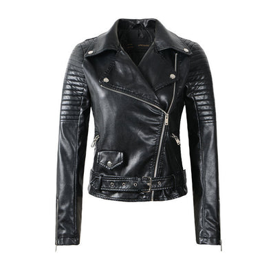 Fashion Women Faux Leather Jacket Ladies Motorcycle PU Black Long Sleeve Coat with Belt - CelebritystyleFashion.com.au online clothing shop australia