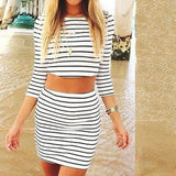 women's white striped casual two pieces three quarter sleeves sheath dress summer wear print dress - CelebritystyleFashion.com.au online clothing shop australia