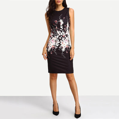 Summer Style Bodycon Dresses Vintage Ladies Sexy Fitness Floral Print Sleeveless Crew Neck Dress - CelebritystyleFashion.com.au online clothing shop australia