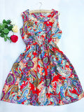 Summer Women dress New Brand Casual Print Sleeveless Chiffon stripe floral print Elastic Waist Bohemian Beach Dresses - CelebritystyleFashion.com.au online clothing shop australia