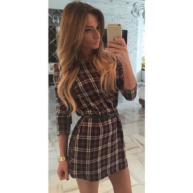 women plaid dresses o-neck long sleeve loose dresses casual mini dress - CelebritystyleFashion.com.au online clothing shop australia