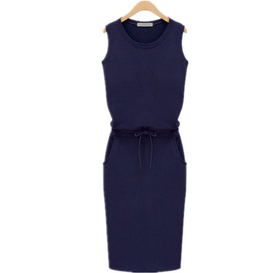 Summer Fashion Women Ladies Casual Dress Round Neck Sleeveless Solid Slim Dresses Plus Size S-4XL - CelebritystyleFashion.com.au online clothing shop australia