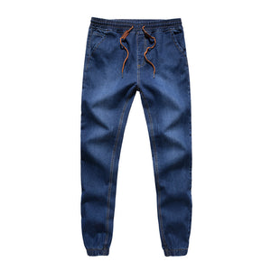 Mens Denim Jeans Men Drawstring Slim Fit Denim Joggers Mens Joggers Jeans Pant Men Stretch Elastic Jean Pencil Pants Casual - CelebritystyleFashion.com.au online clothing shop australia