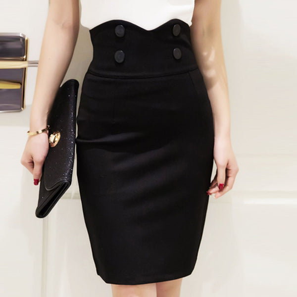 1072a30c28 High Elastic Women Skirts Sexy Slim Solid Color Black Red Double Button high  waist Pencil Skirts