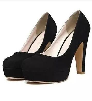 autumn Women's shoes Pumps Single shoes princess shoes round head thick with waterproof suede high heels - CelebritystyleFashion.com.au online clothing shop australia