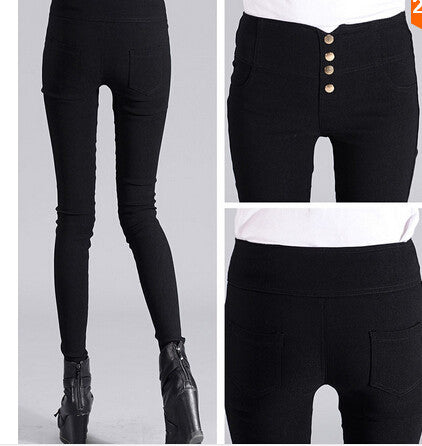 Black / Swomen Pencil Pants High Waisted push up Slim Stretch casual pants female fashion sexy capris Leggings skinny Trousers